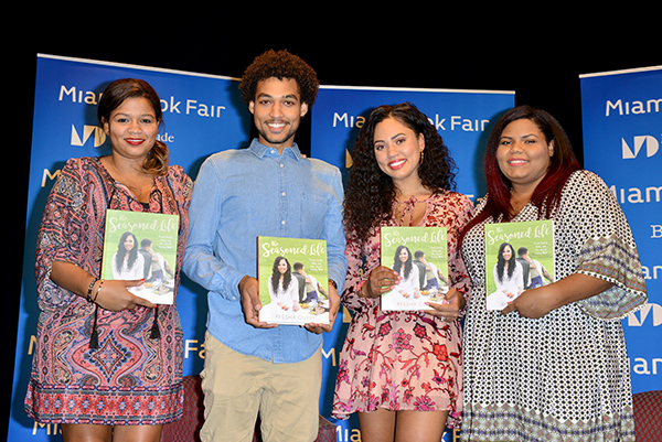 "MIAMI, FL - SEPTEMBER 30: Maria Tarleton, Jaz Alexander, Ayesha Curry, Janiece Alexander pose for picture after discuss and sign her first cookbook,""The Seasoned Life: Food, Family, Faith and the Joy of Eating Well"" Presented Books & Books in collaboration with The New Tropic, Miami Book Fair & The Betsy Hotel at Miami Dade College, Wolfson Auditorium on Friday, September 30, 2016 in Miami, Florida. ( Photo by Johnny Louis / jlnphotography.com )"