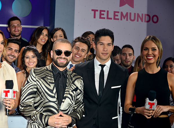 MIAMI, FL - AUGUST 25: Chino (R) and Nacho (L), arrives at Telemundo's Premios Tu Mundo 'Your World' Awards at American Airlines Arena on August 25, 2016 in Miami, Florida. ( Photo by Johnny Louis / jlnphotography.com )