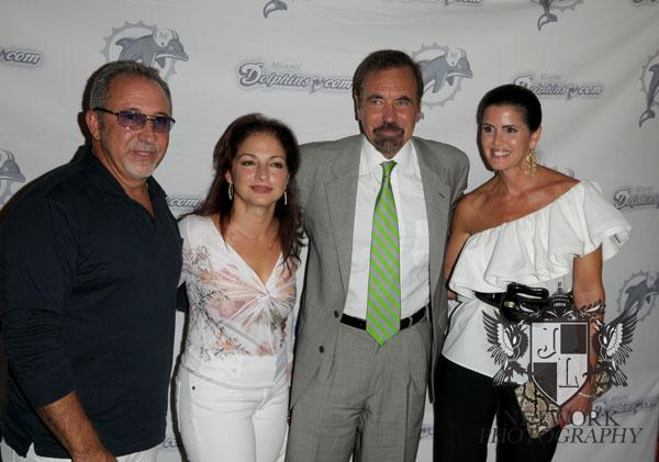 Emilio and Gloria Estefan and Jorge Perez; Darlene Perez during Monday night football season home game opener Dolphins vs. Colts at Land Shark stadium photo by: Johnny Louis/ jlnphotography.com