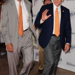Mike Dee and Stephen M. Ross arrives at the Orange Carpet during the  DOLPHINS VS. SAINTS game