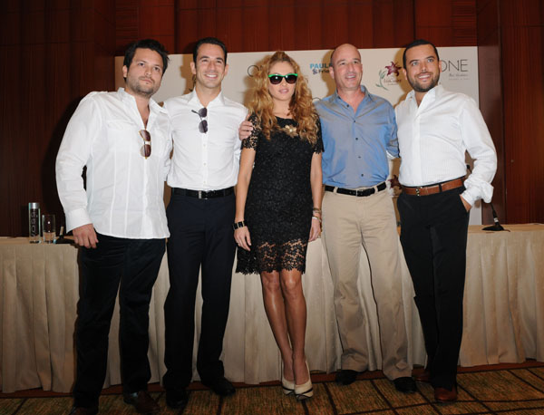 Bal Harbour resort owner Juan Avevalo, IndyCar racing driver Helio Castroneves, Paulina Rubio, Keith Pesnich and Bal Harbour owner Jorge Arevalo.| photo by: Johnny Louis/ jlnphotography.com