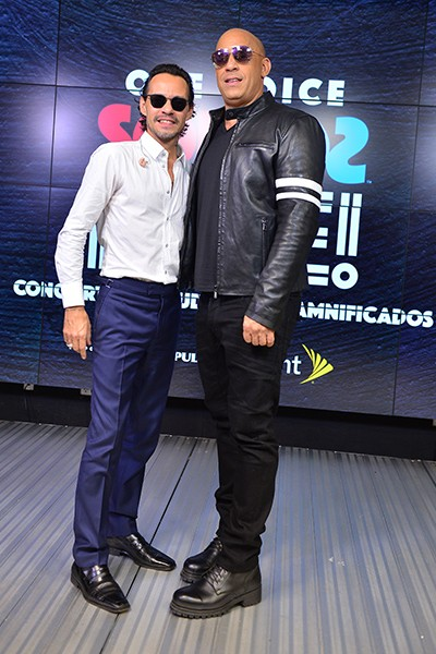 Marc Anthony and Vin Diesel poses in the pressroom at One Voice: Somos Live! A Concert For Disaster Relief at Marlins Park on October 14, 2017 in  Photo by Johnny Louis / jlnphotography.com )